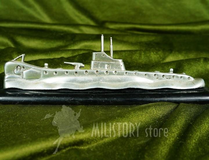 Modello da tavolo sommergibile in alluminio e base in legno 1940